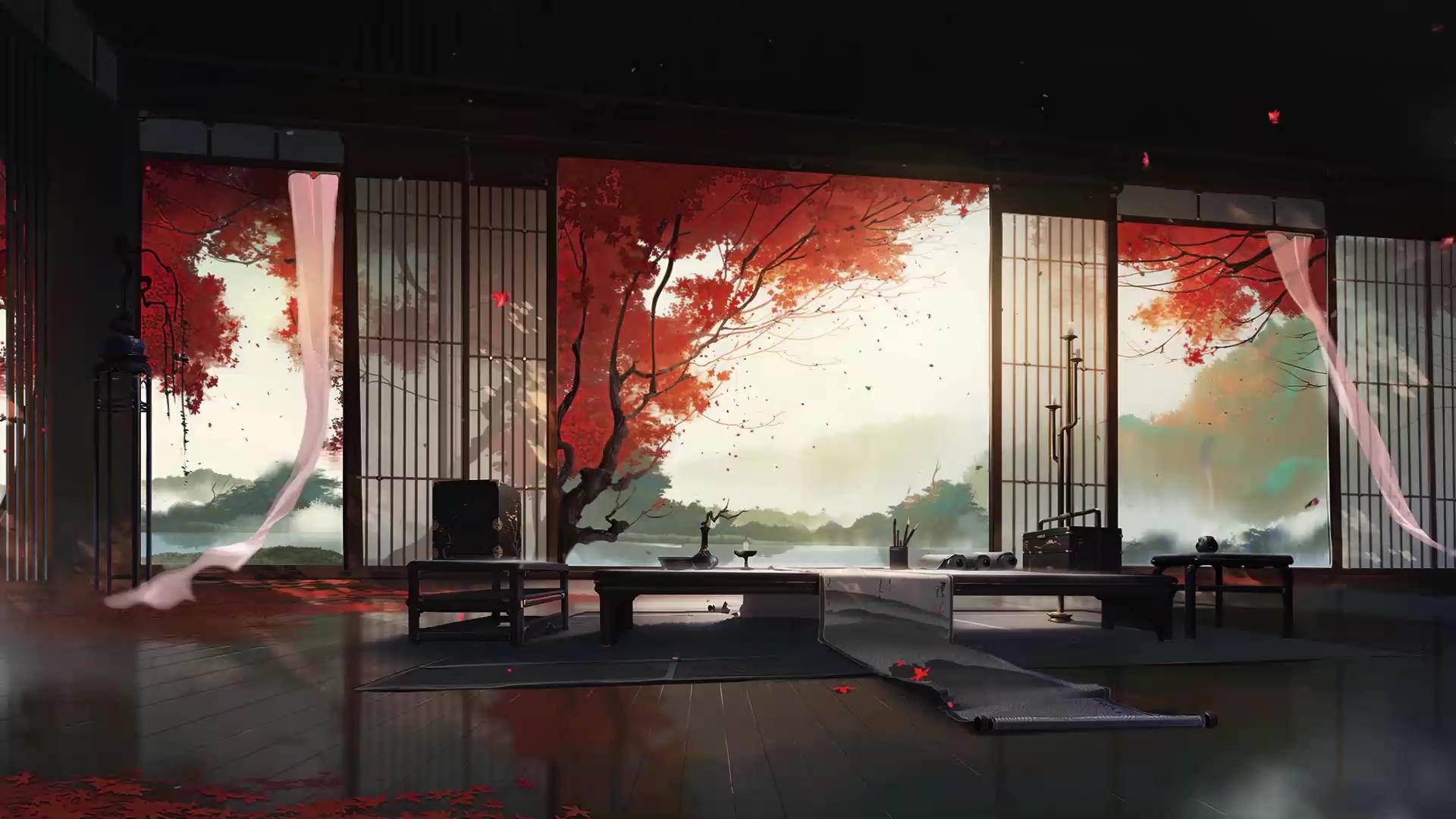 Old House Japan Autumn Leaves Live Wallpaper Wallpaperwaifu