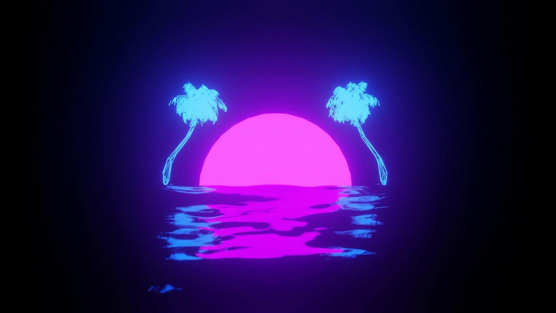 Retro Sun Coconut Palm Trees Live Wallpaper - WallpaperWaifu