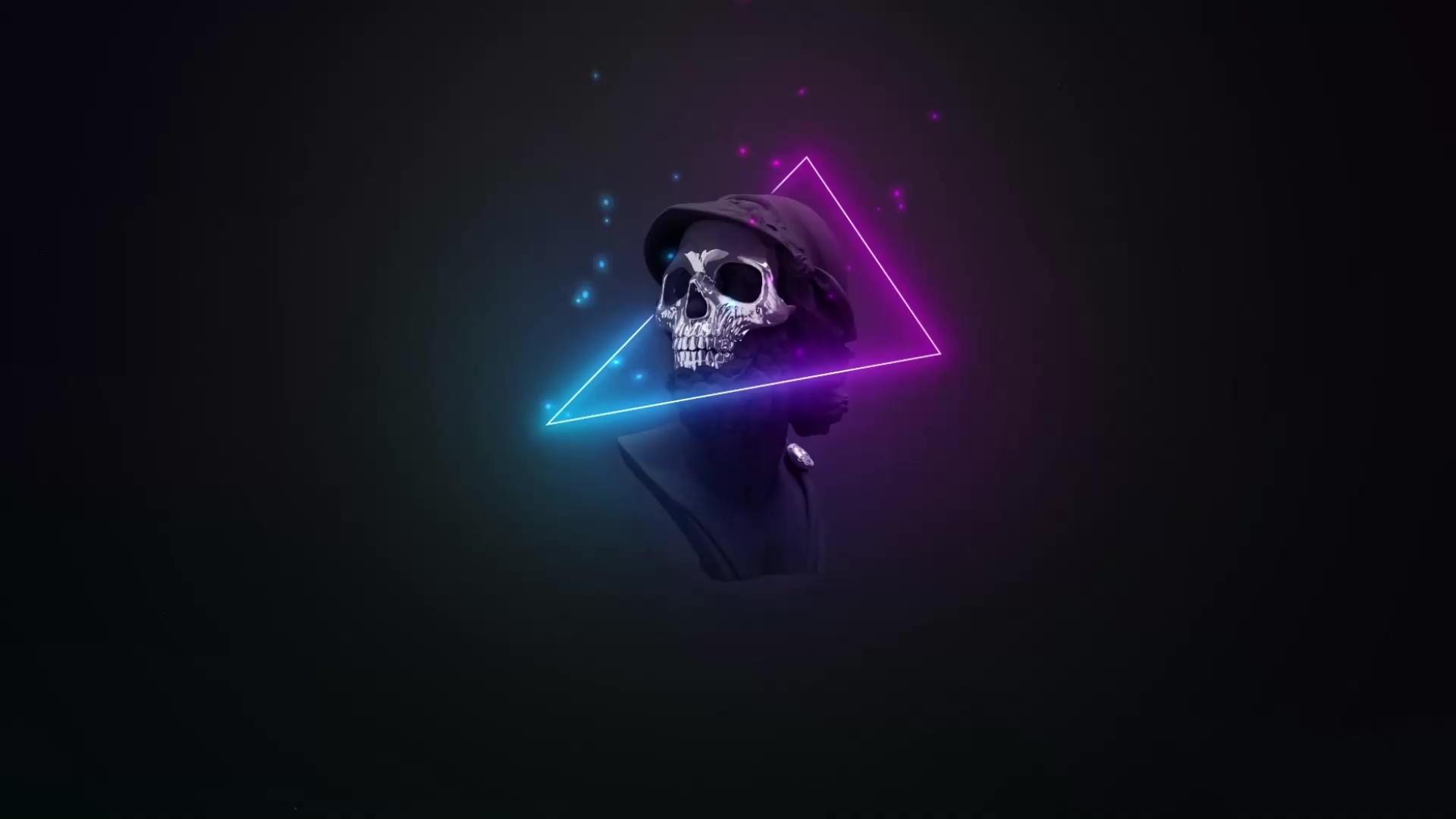 Skull Neon Minimal Live Wallpaper - WallpaperWaifu
